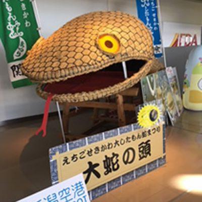 新潟空港フォトスポット「関川村大したもん蛇」まつりPRコーナー設置